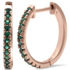 Rose Gold Plated Green Emerald .925 Sterling Silver Hoop Earring