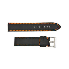 Hadley Roma 20mm High Performance Carbon Fiber Style Black-Orange Leather Strap