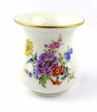 #e5995 piccola Meissen vaso per 1980 con Fiori & bordo oro 1. scelta