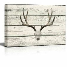 Deer Skull with Antlers Western Artwork - Rustic Canvas Wall Art - 12x18 inches