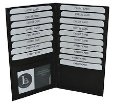 Black Genuine Leather Long Bifold ID Credit Card Money Holder Wallet Organizer.
