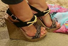 LADIES SHOES WEDGES PLATFORM HEEL SANDALS PINK BOUTIQUE STRAPPY Sz 8 41 SUMMER