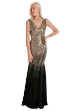 Ladies Long Gold Sequin Evening Maxi Dress Ball Gown Womens UK Size 8 10 12 14