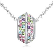 18K WHITE GOLD PLATED & GENUINE MULTI-COLOURED SWAROVSKI CRYSTAL RING NECKLACE
