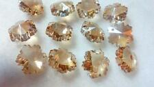 50 Champagne 14mm Snowflakes Chandelier Crystal Beads Prisms Suncatcher Cognac