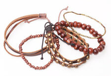 FUNKY SET OF 6 BROWN METAL/BEADED/STRAP BRACELETS ETHNIC VIBE CASUAL (ZX23)