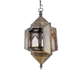 Moroccan Hanging Pendant Lantern Carved Brass Finish & Frosted Glass Lamp