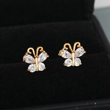 White Butterfly Gold Filled Stud Earring Cubic Zirconia Stone Girls Gift Punk
