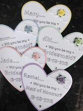 'Will You Be My Bridesmaid' Personalised Heart Shaped Magnet. Pink Peach Purple