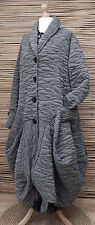 LAGENLOOK*MB GERMANY*WOOL MIX BEAUTIFUL BALLOON 2 POCKETS LONG COAT*GREY*SIZE XL