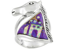Southwest Style By Jtv (Tm) Turquoise With Opal Simulant Inlay S.S Horse Ring