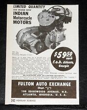 1949 OLD MAGAZINE PRINT AD, 350 INDIAN MODEL 741 MOTORCYCLE MOTORS, $59.50 EACH!