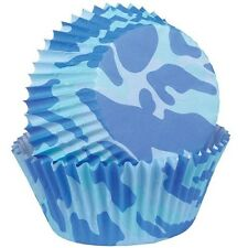75 WILTON BLUE CAMO CUPCAKE LINERS COLOR BAKING CUPS BIRTHDAY FAVORS 2 IN 75 CT