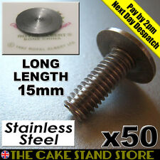 50 x 6mm Cake Stand Handle/Rod Bottom Plate Long Flat Head Bolts (15mm length)