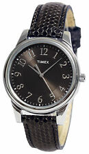 Timex T2P086, Women's Watch, Easy to Read, Black Leather Band, T2P0869J