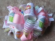 Happy Birthday Cupcakes, Hearts & Sparkles in Pastel Colors Boutique Hairbow
