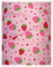 7/8 OH SO STRAWBERRY GROSGRAIN RIBBON SHORTCAKE 4 HAIRBOW BOW RED PINK