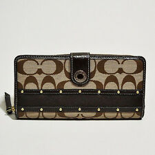 Coach NWT Studded Sateen Stripe Zip Around Khaki / Mahogany Wallet F48063 BKHMA