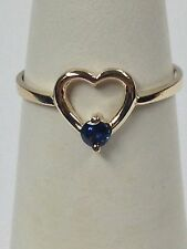 Heart Ring with Natural Sapphire Solid 10kt Yellow Gold
