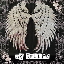 2 x BIG Silver Angels Wings Sequin 35cm Sew On Sequinned Sequin Cloth Patches