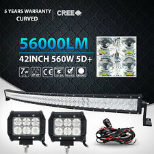 5D 42Inch 560W + 2x 18W Curved Led Light Bar Spot Flood Offroad 4WD ATV Truck 50