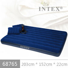 INTEX INFLATABLE QUEEN SIZE CLASSIC DOUBLE AIR BED WITH.INTEX HANDPUMP & 2PILLOW