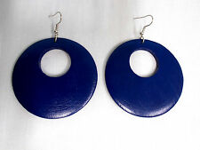 NEW XL DEEP NAVY BLUE COLOR PAINTED REAL WOOD DANGLING ROUND FLAT HOOP EARRINGS