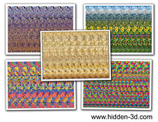 """Lot of 5 Stereogram Posters 18""""x13"""" Hidden 3D illusion"""