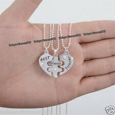 3 PART Sisters BEST Friends Forever Necklaces Silver Xmas Gifts For Her Women B1