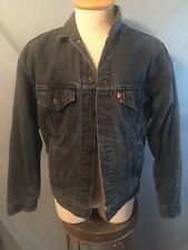 VTG LEVI'S FADED BLACK DENIM FLANNEL LINED TRUCKER JACKET MENS XL MADE IN USA!