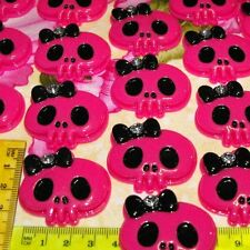 1 x Large Skull Pink with Bow n Rhinestone Kawaii Flatback DIY Hair Flat Backs