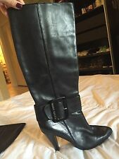Miss Sixty Black Leather Boots Size 6