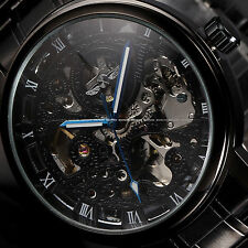 Luxury Black Stainless Army Sport Automatic Mechanical Skeleton Mens Wrist Watch