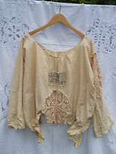 OSFA RITANOTIARA CREAM COTTON ARTIST SHIRT VINTAGE LACE PATCHED LINEN SWING TOP
