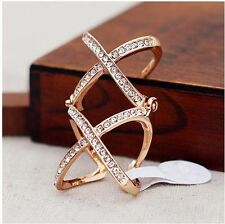 Hot Fashion Punk Rhinestone Double X Knuckle Scroll Armor Joint Ring Size 5.5