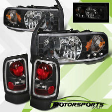 1994-2001 Dodge Ram 1500 2500 3500 Black LED Headlights w/ Black Tail Lights Set