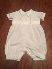 New Baby Boys White Romper Christening Baptism Dedication Size 3 Months