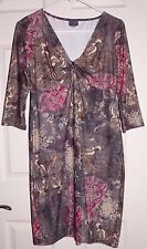 New Medium Olian Maternity Dress Stretchy Gray Brown Red Floral Twist Front