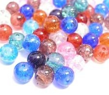 Sale-50pc 8mm mix color glass crackle round beads-5402A