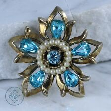 Gold Plated - Faux White Pearl Blue Rhinestone Flower - Pendant