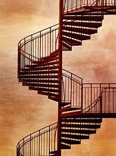 RED SPIRAL STAIRCASE GRUNGE PHOTO ART PRINT POSTER PICTURE BMP916A