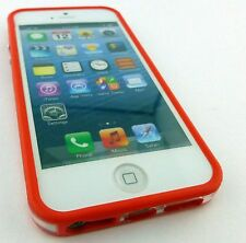 RED CLEAR HARD TPU GEL PC HYBRID BUMPER CASE COVER FOR APPLE IPHONE 5 5S SE
