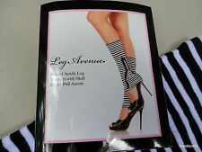 Leg Warmers Striped Acrylic w Skull Zipper Pulls Goth Halloween b/w New One Size