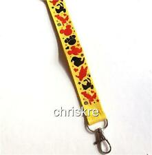 Disney ID Badge Lanyard Mickey Mouse Minnie Goofy Pluto Holder Clip Pin Trading