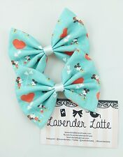 Retro Mickey and Minnie Handmade Fabric Hair Bow with Hearts
