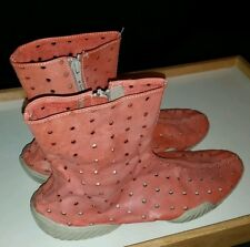 Damir Doma ankle boots size 9 pink leather  polka dot holes couture zip close