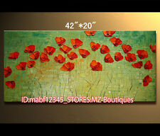 "Y1138 42X20""Hand painted Oil Canvas Wall Art home Decor Abstract FLOWER NO Frame"