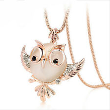 18k Yellow Gold Swarovski Crystal Opal Sweater Chain Owl Pendant Long Necklace