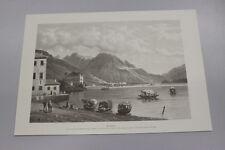 A Stampa- Print  Gravedona Lago di Como da un dipinto di G. Cannella