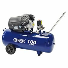 DRAPER Tools / OFFICINA 100L 230V 2.2 Kw (3HP) V-TWIN COMPRESSORE D'ARIA - 65396